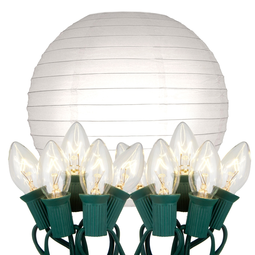 Newest Outdoor Paper Lanterns For Patio Intended For Electric – String Lights With White Paper Lanterns Kit 10Ct – Lumabase (View 5 of 20)