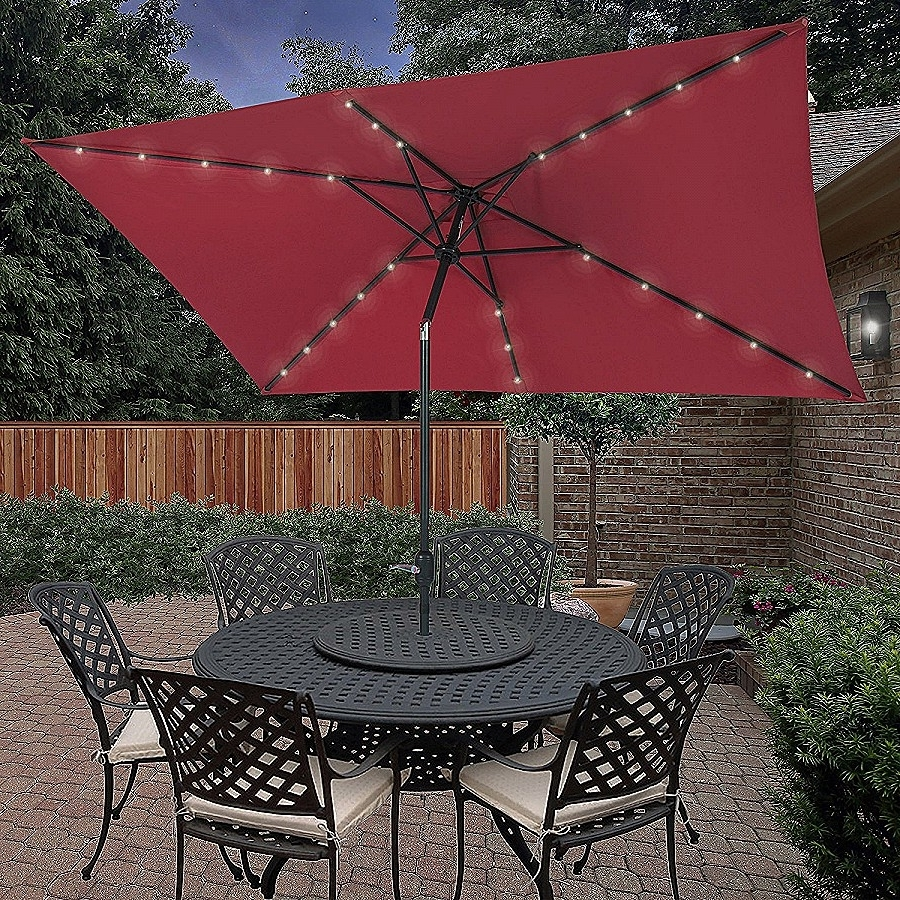 Newest Rectangle Patio Umbrellas Throughout Strobe Umbrella Light: Unique Large Patio Umbrellas With Ligh (View 10 of 20)
