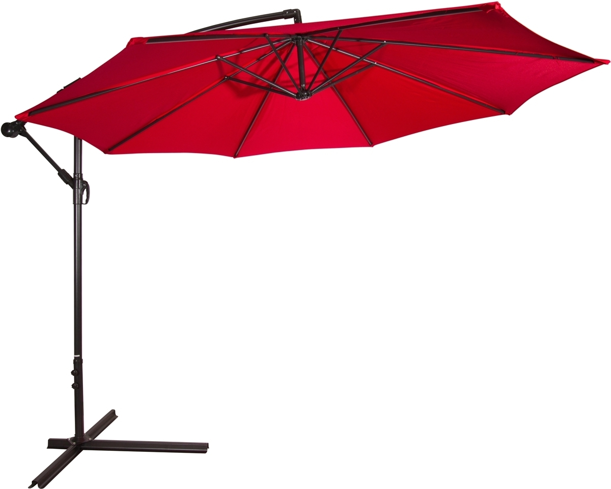 Newest Red Patio Umbrellas In 10' Deluxe Polyester Red Offset Patio Umbrellatrademark Innovations (View 8 of 20)