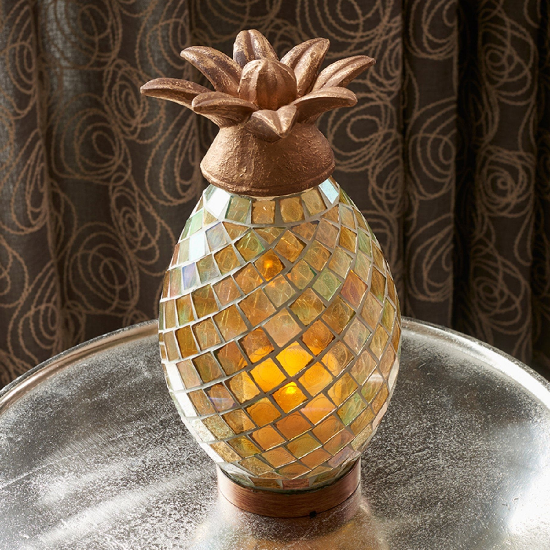 Newest Smart Living Ananas Glass Mosaic Pineapple Indoor/outdoor Led Candle Within Outdoor Pineapple Lanterns (Gallery 11 of 20)