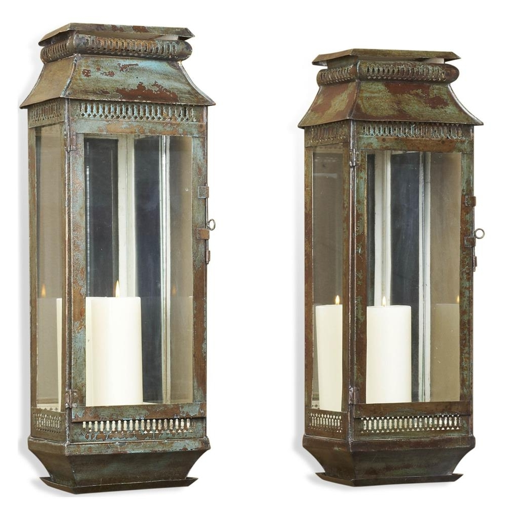 Newest Tall Outdoor Lanterns Inside Modena Tall Moroccan Rustic Pair Wall Sconce Lanterns Kathy Kuo Home (View 17 of 20)