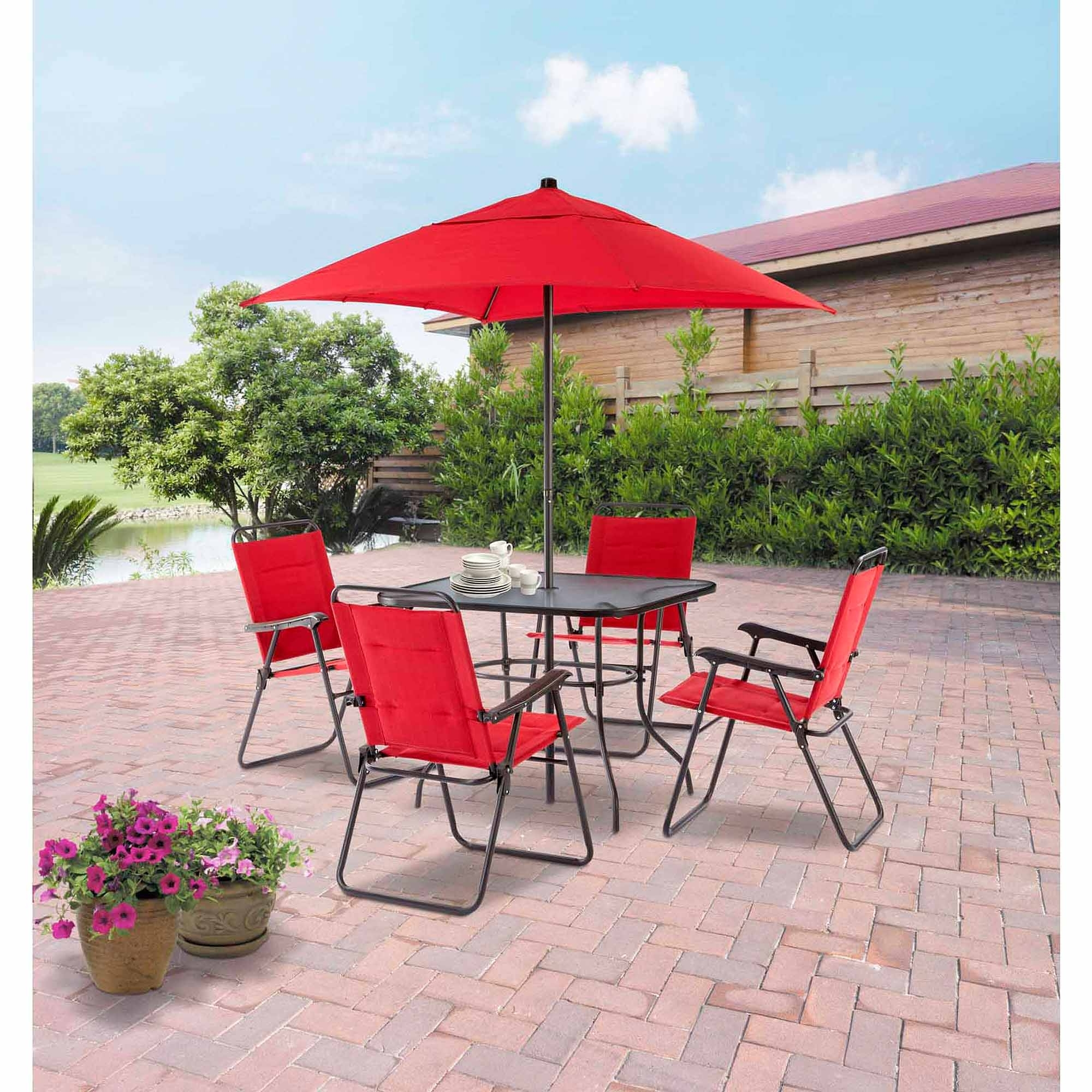 Newest Walmart Umbrellas Patio In Mainstays Searcy Lane 6 Piece Padded Folding Patio Dining Set, Red (Gallery 3 of 20)