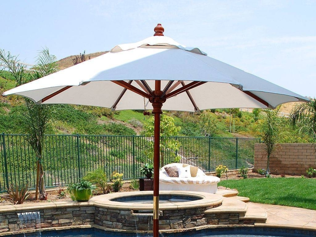 Newest White Cheap Patio Umbrellas With Small Round Swimming Pool With Throughout Cheap Patio Umbrellas (View 3 of 20)
