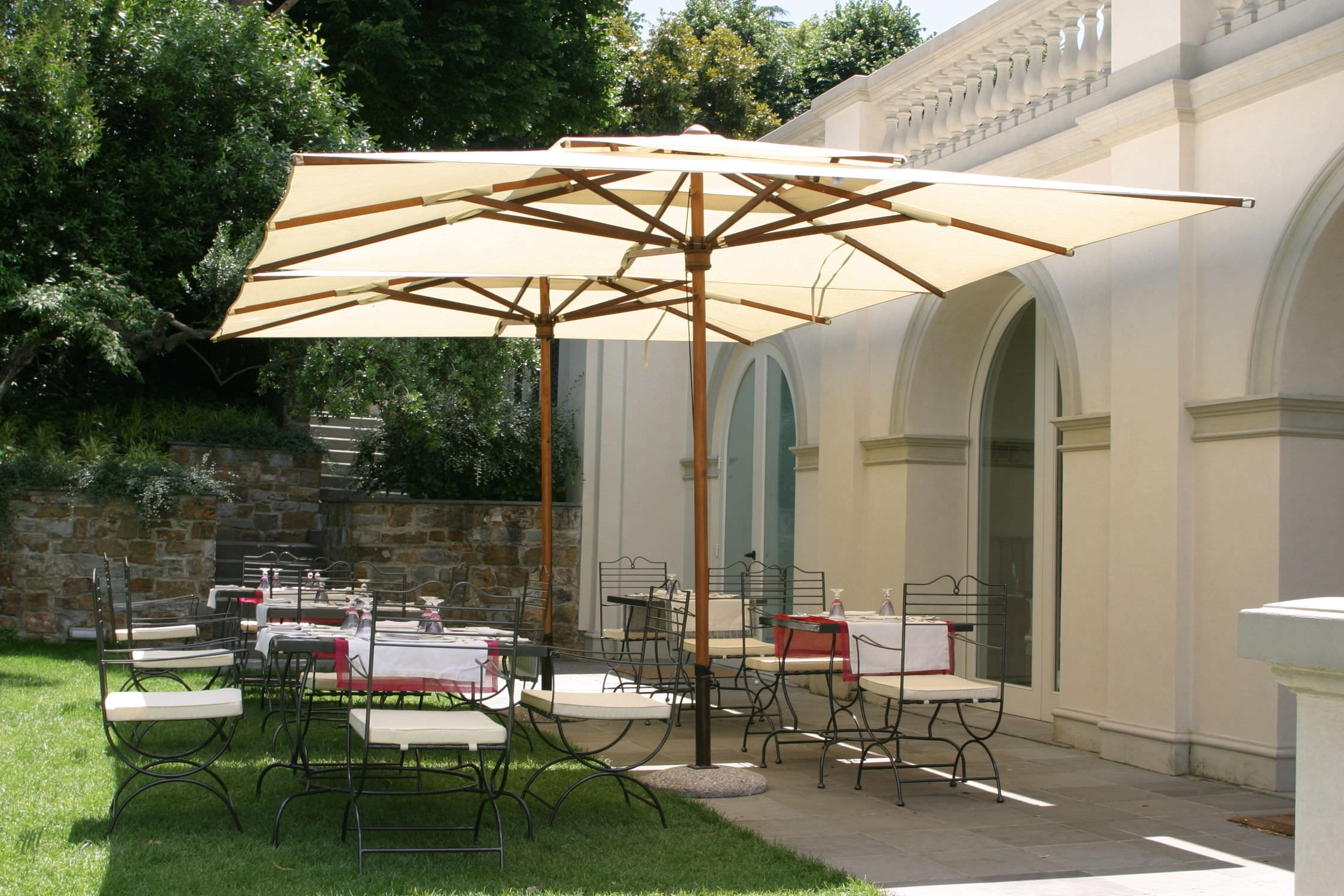 Newest Wooden Patio Umbrellas Inside Wooden Patio Umbrella Poker Garden Art Wood Frame Umbrellas (View 15 of 20)