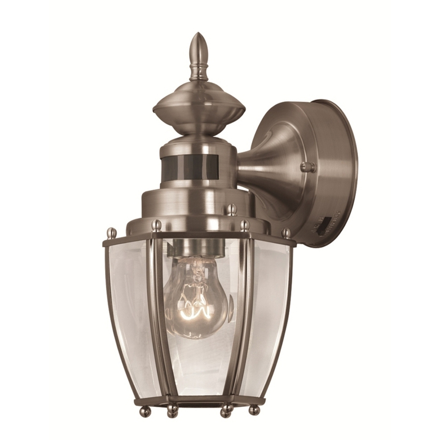Nickel Outdoor Lanterns In Widely Used Shop Portfolio 11.75 In H Brushed Nickel Motion Activated Outdoor (Gallery 12 of 20)
