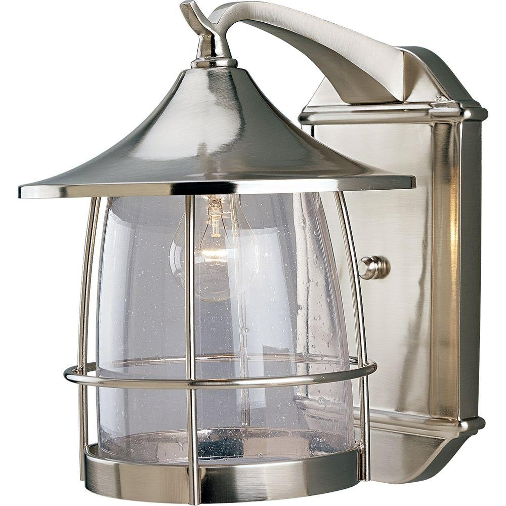 Nickel Outdoor Lanterns With Popular Progress Lighting Prairie 1 Light Outdoor Brushed Nickel Wall (View 6 of 20)