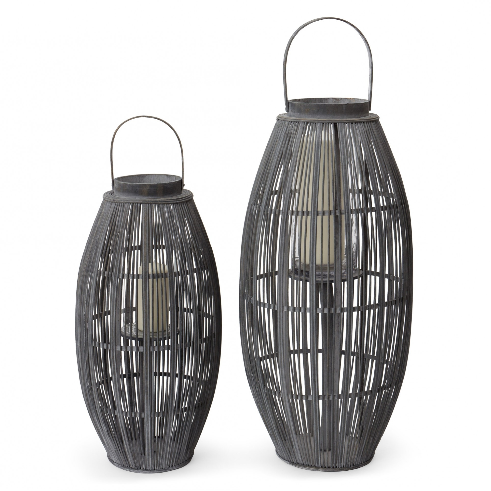 Niya Garden Lantern, Light Grey With Large Cage Design Intended For Best And Newest Outdoor Bamboo Lanterns (View 2 of 20)