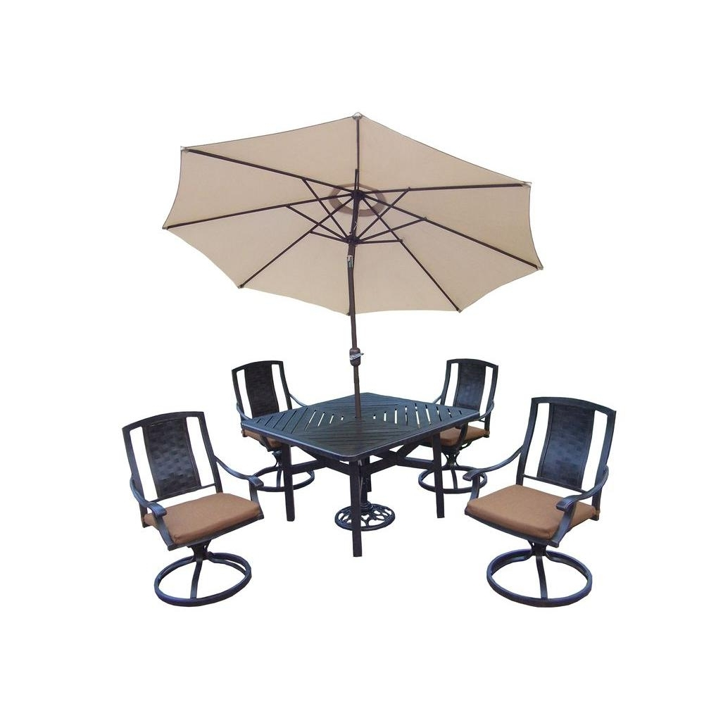 Oakland Living 7 Piece Square Aluminum Patio Dining Set With Intended For Latest Sunbrella Teak Umbrellas (View 19 of 20)