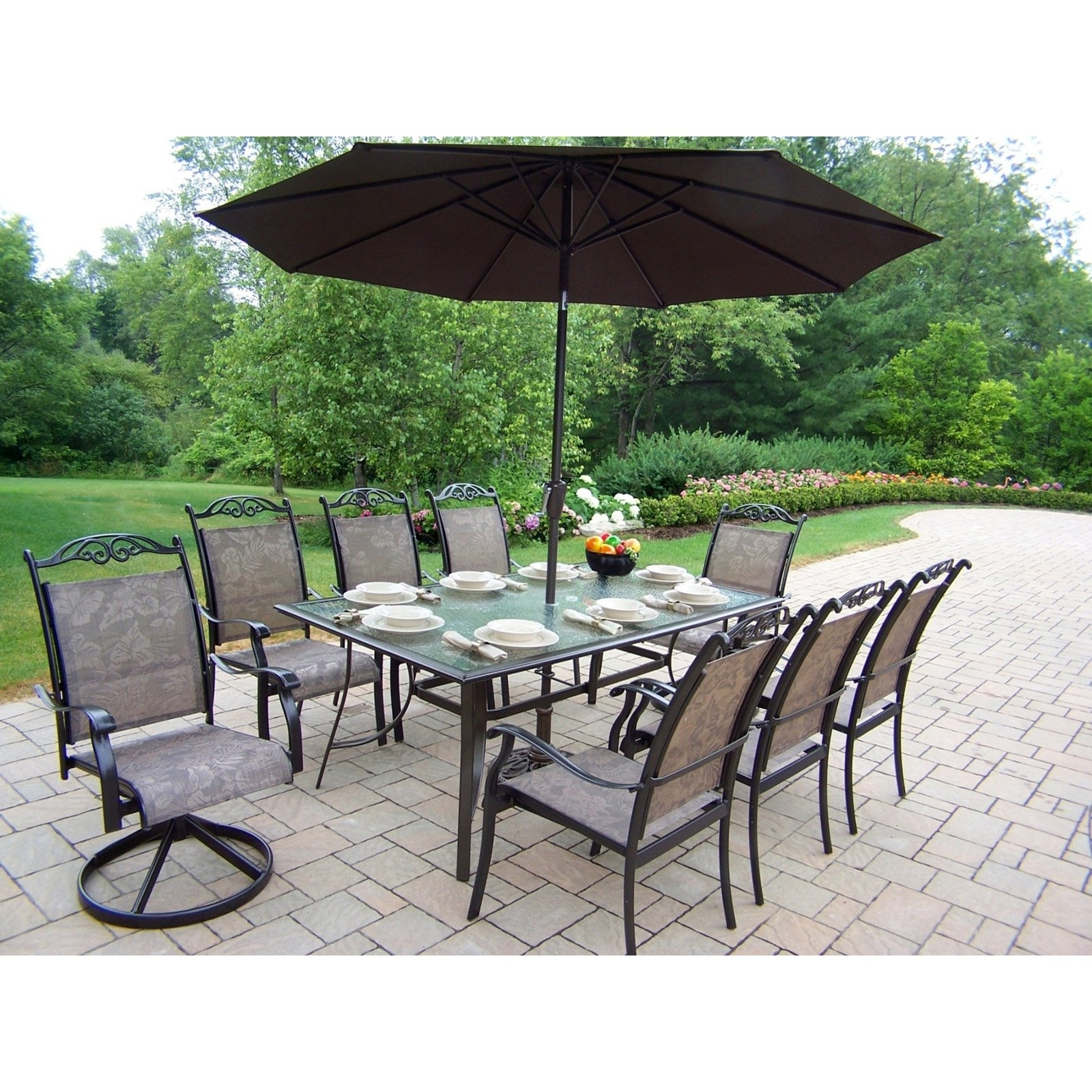 Oakland Living Cascade Patio Dining Set With Umbrella And Stand Inside Famous Patio Dining Sets With Umbrellas (View 10 of 20)
