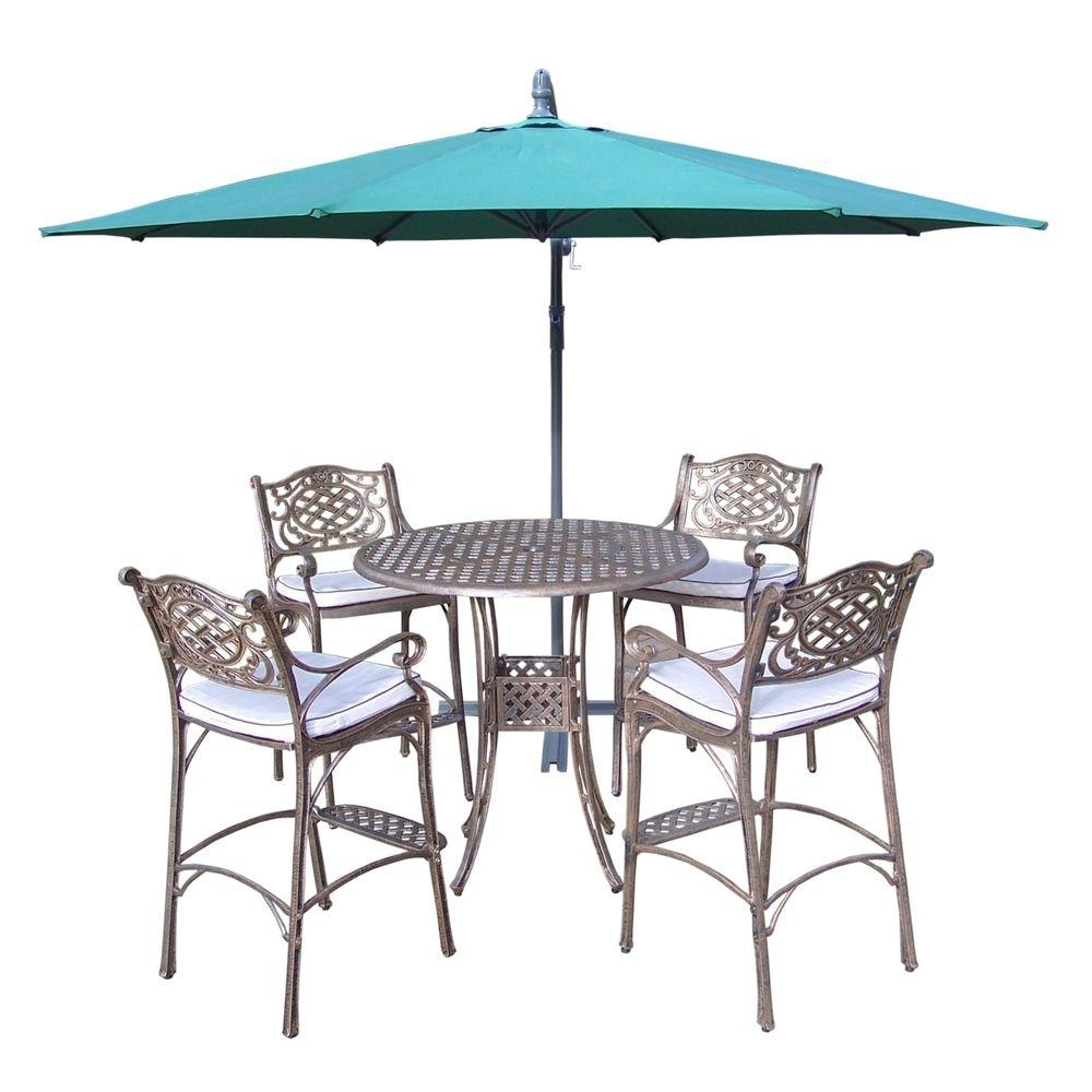 Oakland Living Elite Cast Aluminum 6 Piece Round Patio Bar Height Pertaining To Fashionable Patio Umbrellas For Bar Height Tables (View 4 of 20)