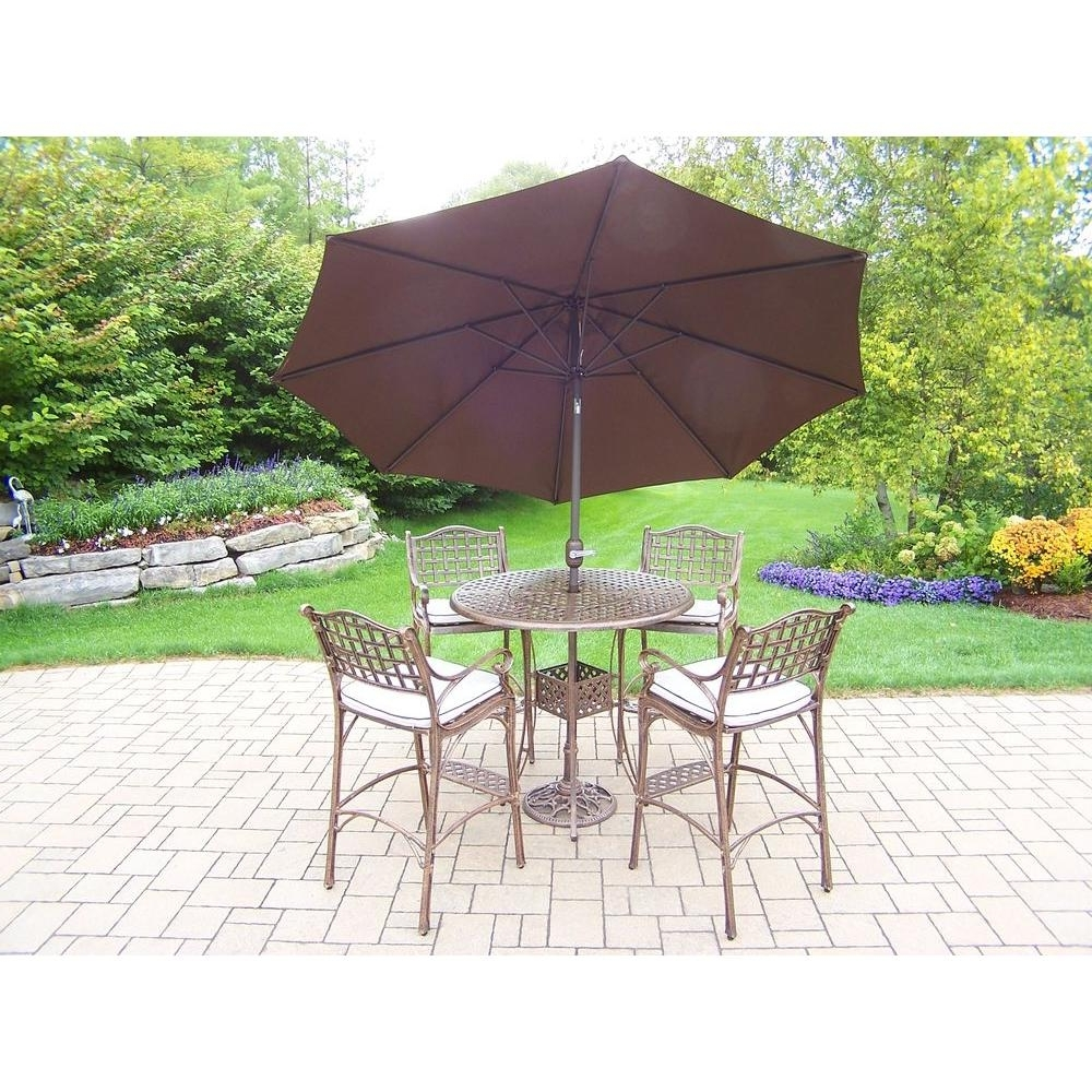 Oakland Living Elite Cast Aluminum 7 Piece Round Patio Bar Height With Well Known Patio Umbrellas For Bar Height Tables (View 19 of 20)