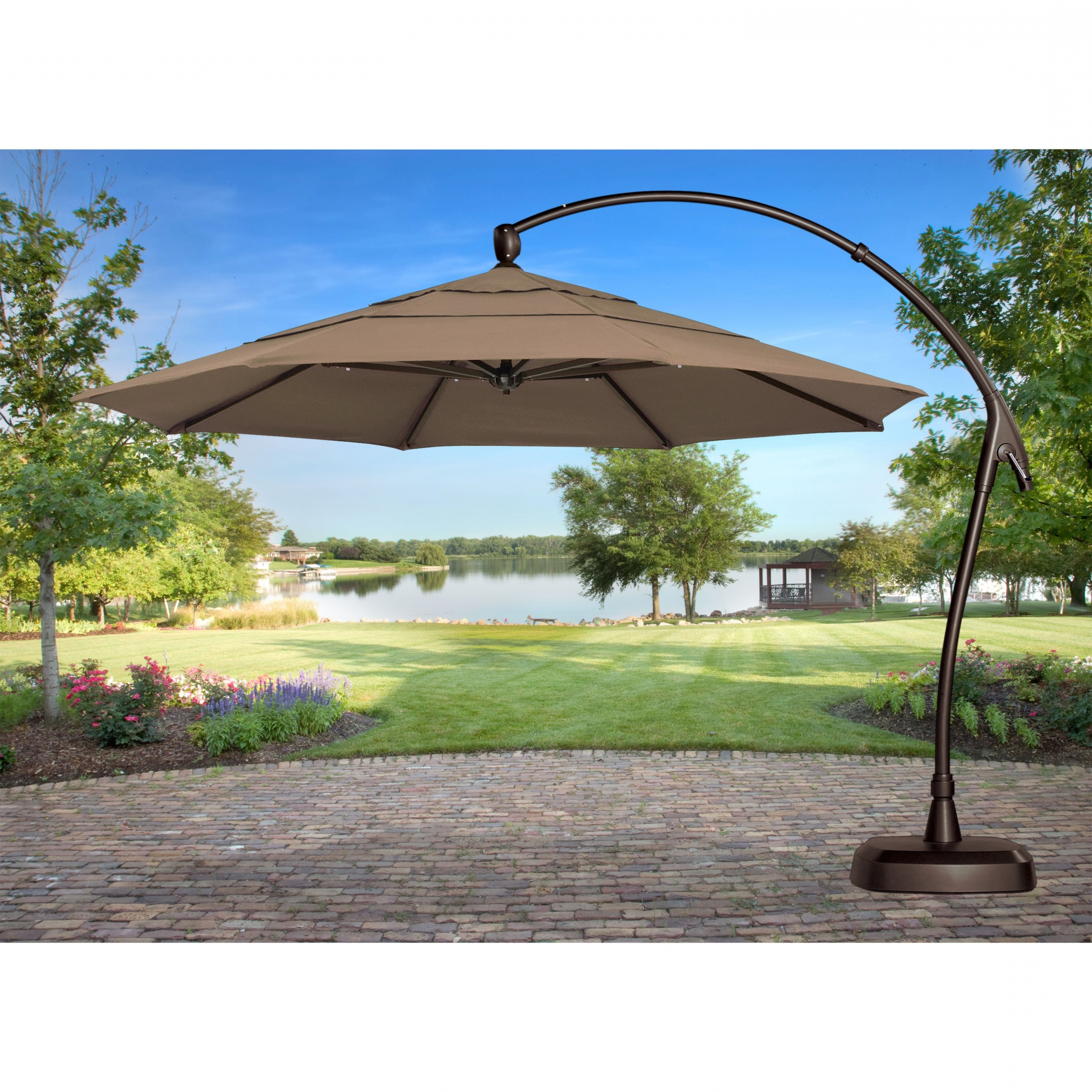 Offset Cantilever Patio Umbrellas With Most Recently Released Home Design: Treasure Garden 11 Ft (View 11 of 20)
