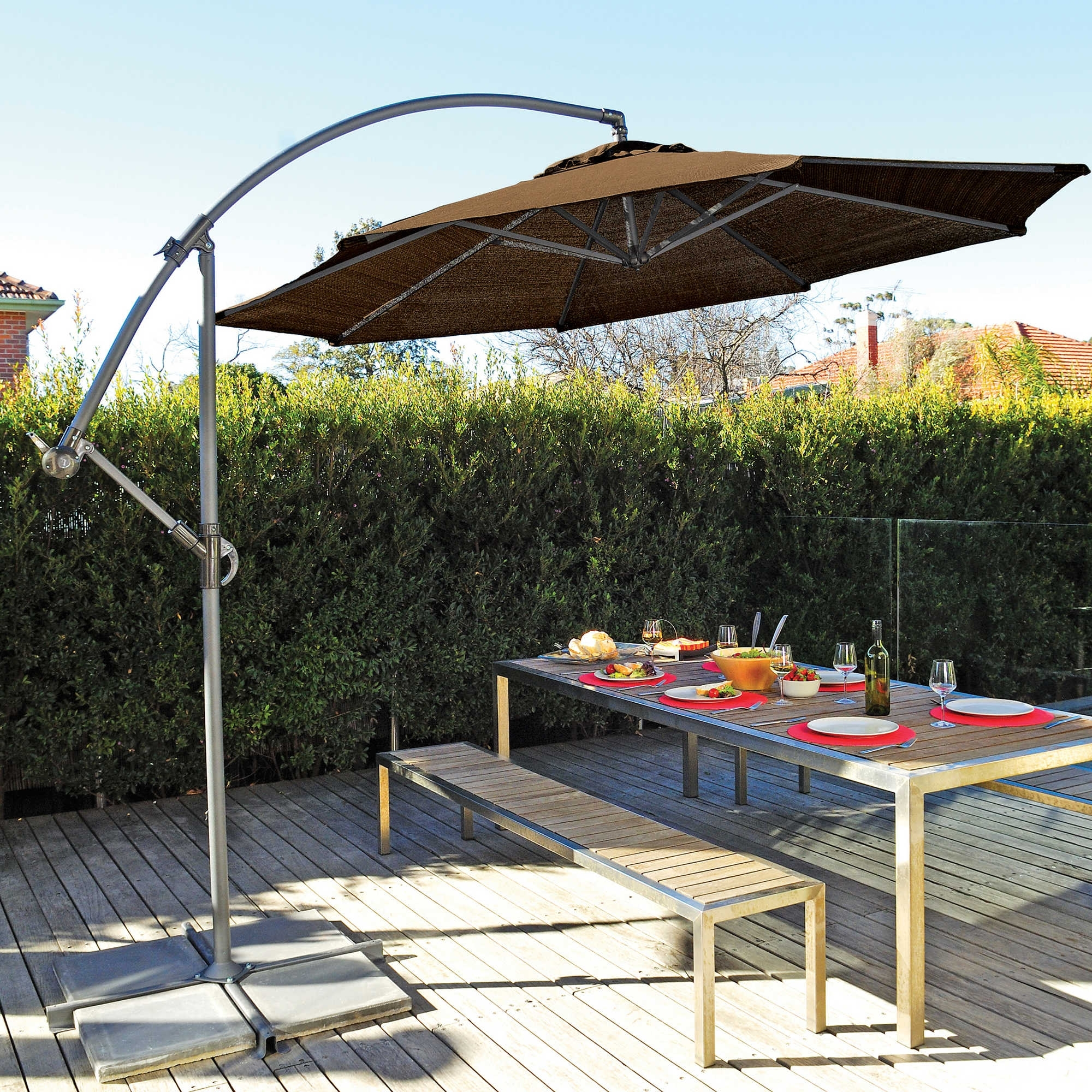 Offset Cantilever Patio Umbrellas Within Current Patio Bench And Patio Table With Offset Patio (View 13 of 20)