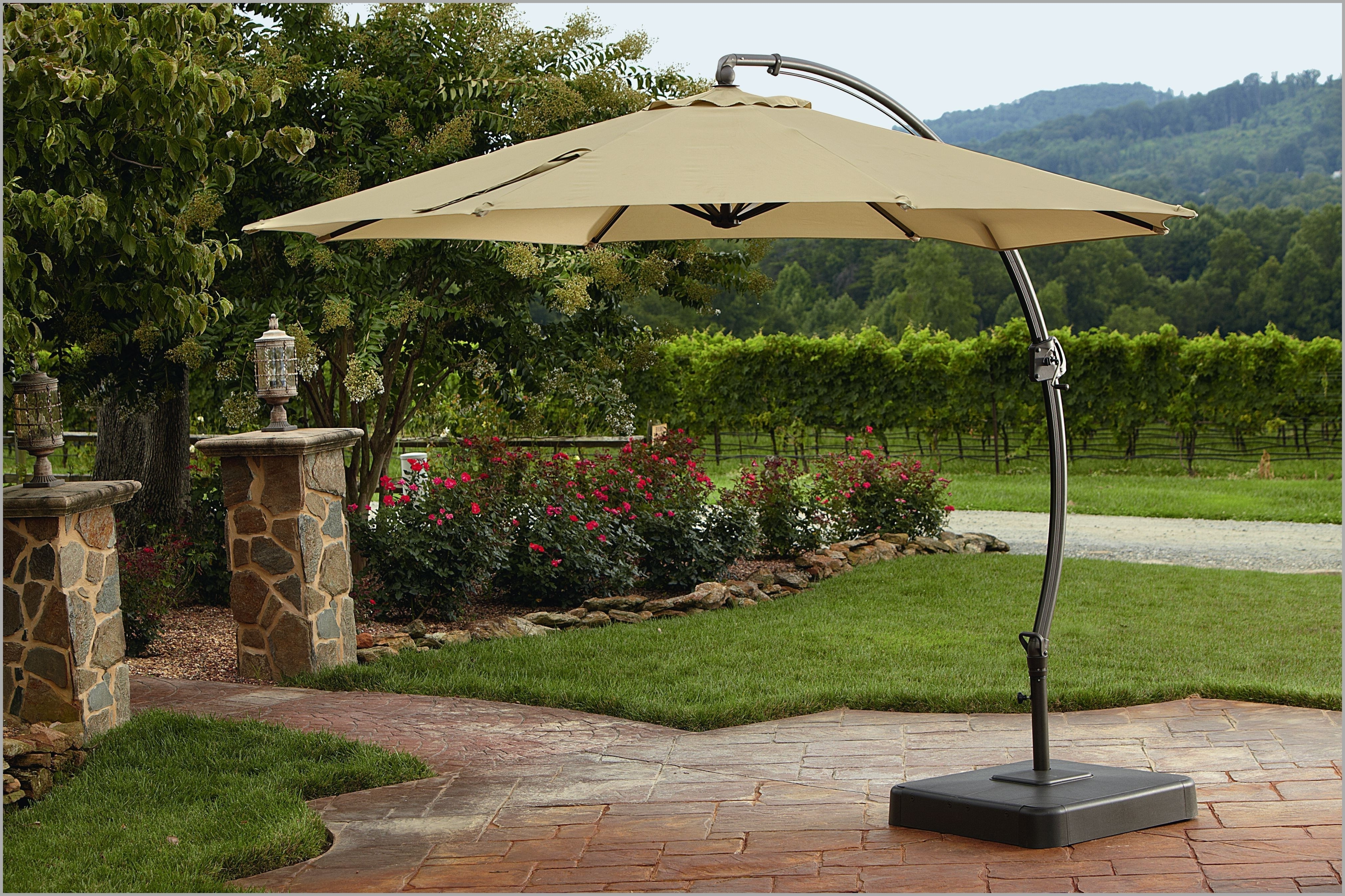 Offset Patio Umbrellas Inside Preferred Decent Patio Umbrellas Clearance Fset Rectangular Lowes Chairs (View 11 of 20)