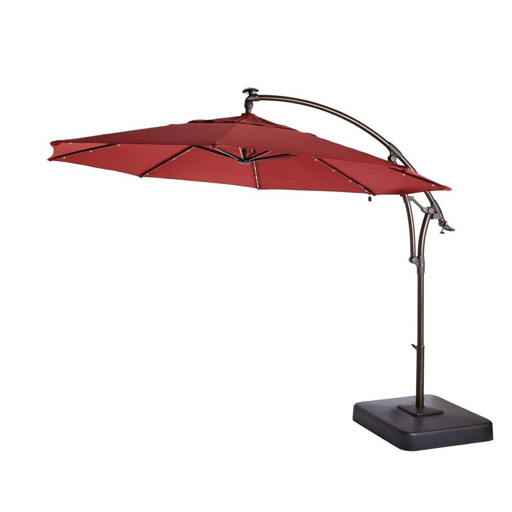 Offset Patio Umbrellas With Base Throughout Most Current Hampton Bay 11 Ft. Led Round Offset Patio Umbrella In Chili Red (Gallery 2 of 20)