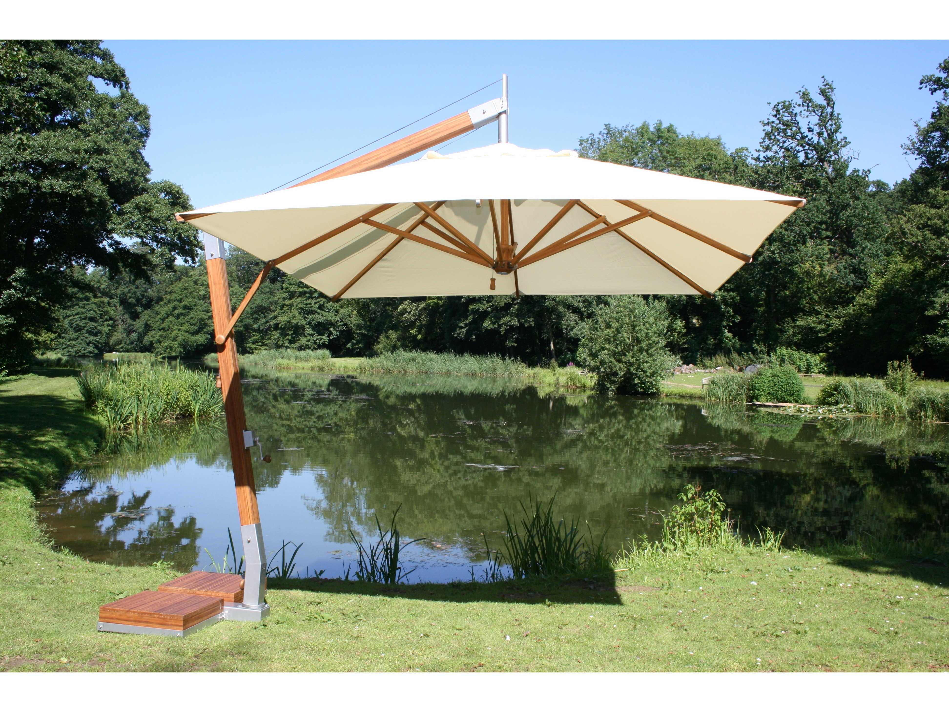 Offset Rectangular Patio Umbrellas For Famous Rectangular White Fabric Offset Patio Umbrella With Wood And Metal (View 11 of 20)