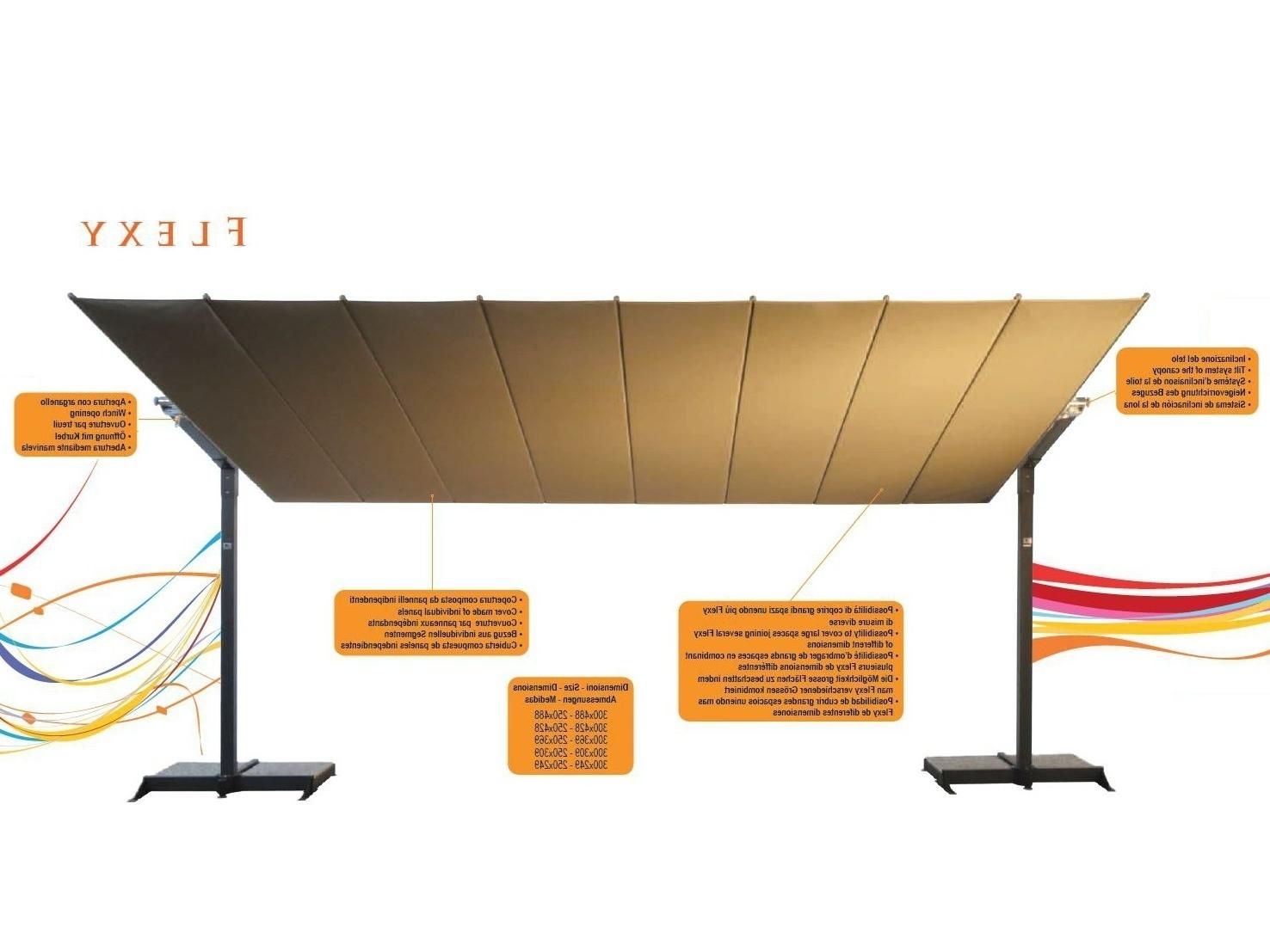 Offset Rectangular Patio Umbrellas For Popular Fim Flexy Aluminum 8' X 14' Rectangular Offset Patio Umbrella (View 4 of 20)