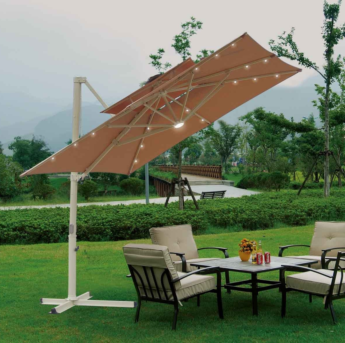 Offset Rectangular Patio Umbrellas In Current Rectangular Offset Patio Umbrella – Gorgeous Fset Umbrella With (View 8 of 20)