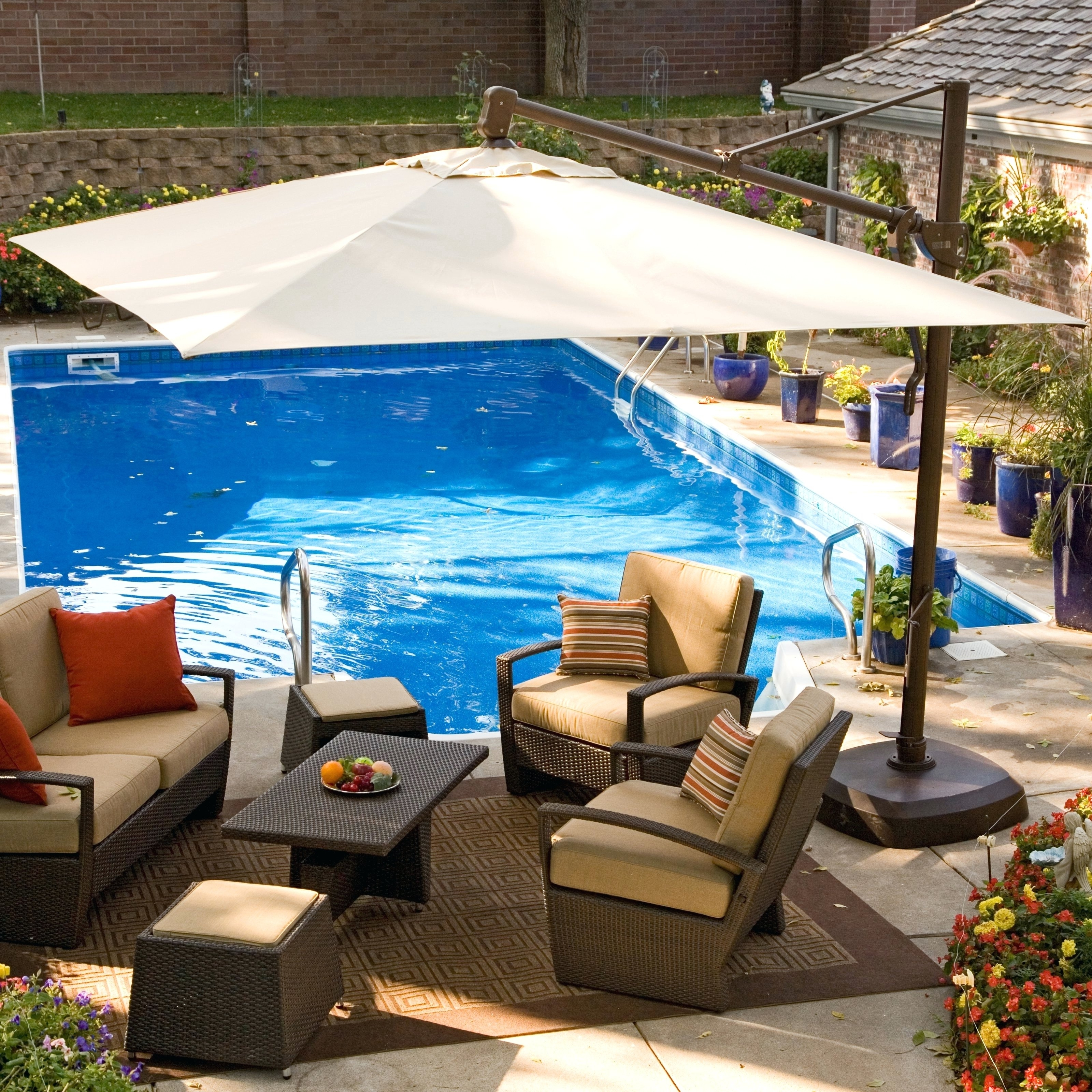 Offset Rectangular Patio Umbrellas Pertaining To Latest Patio Ideas ~ 10 Foot Wide Rectangular Offset Patio Umbrella With (Gallery 16 of 20)