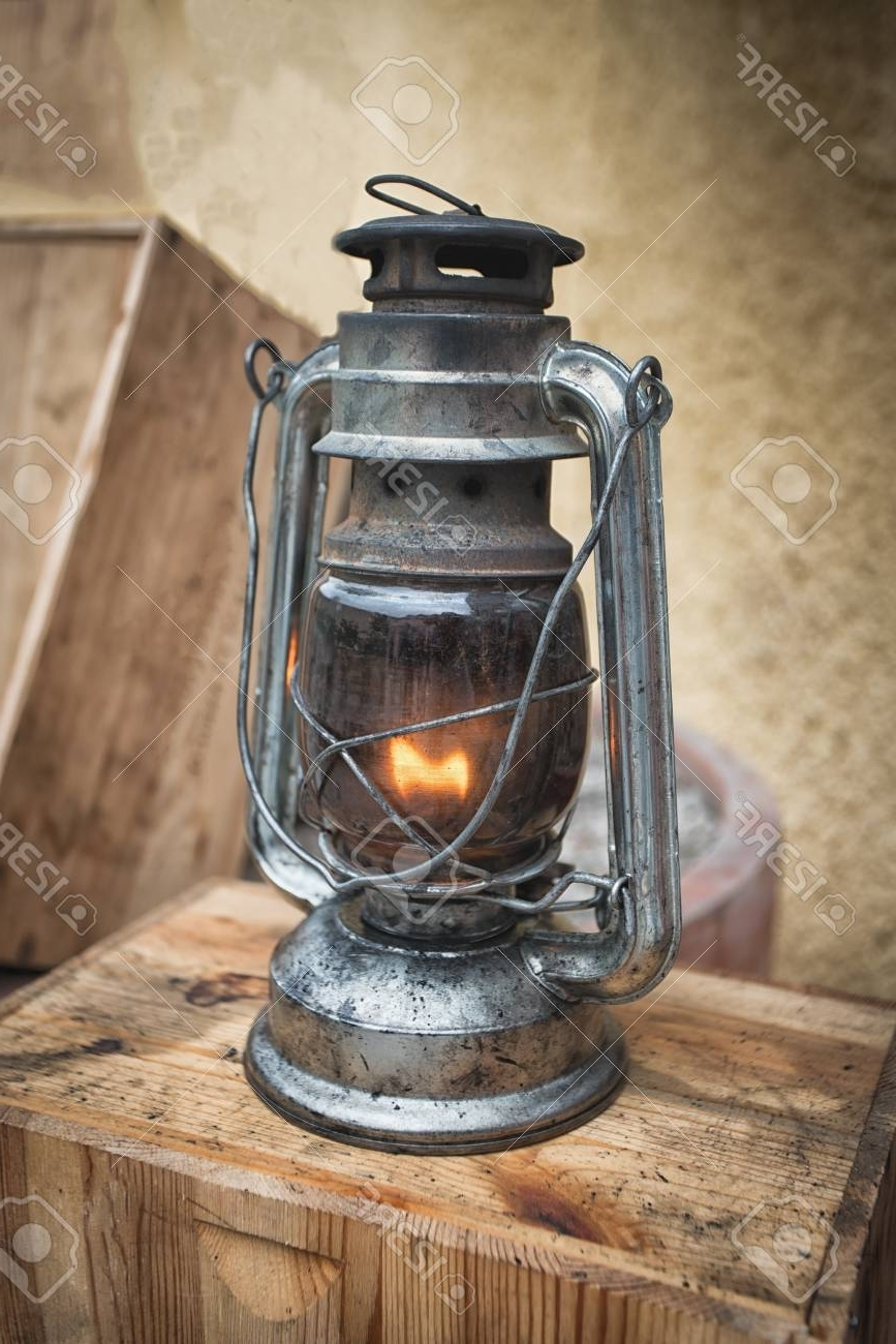 Old Fashioned Lantern On The Wooden Table. Vintage Style Metal In Best And Newest Xl Outdoor Lanterns (Gallery 15 of 20)