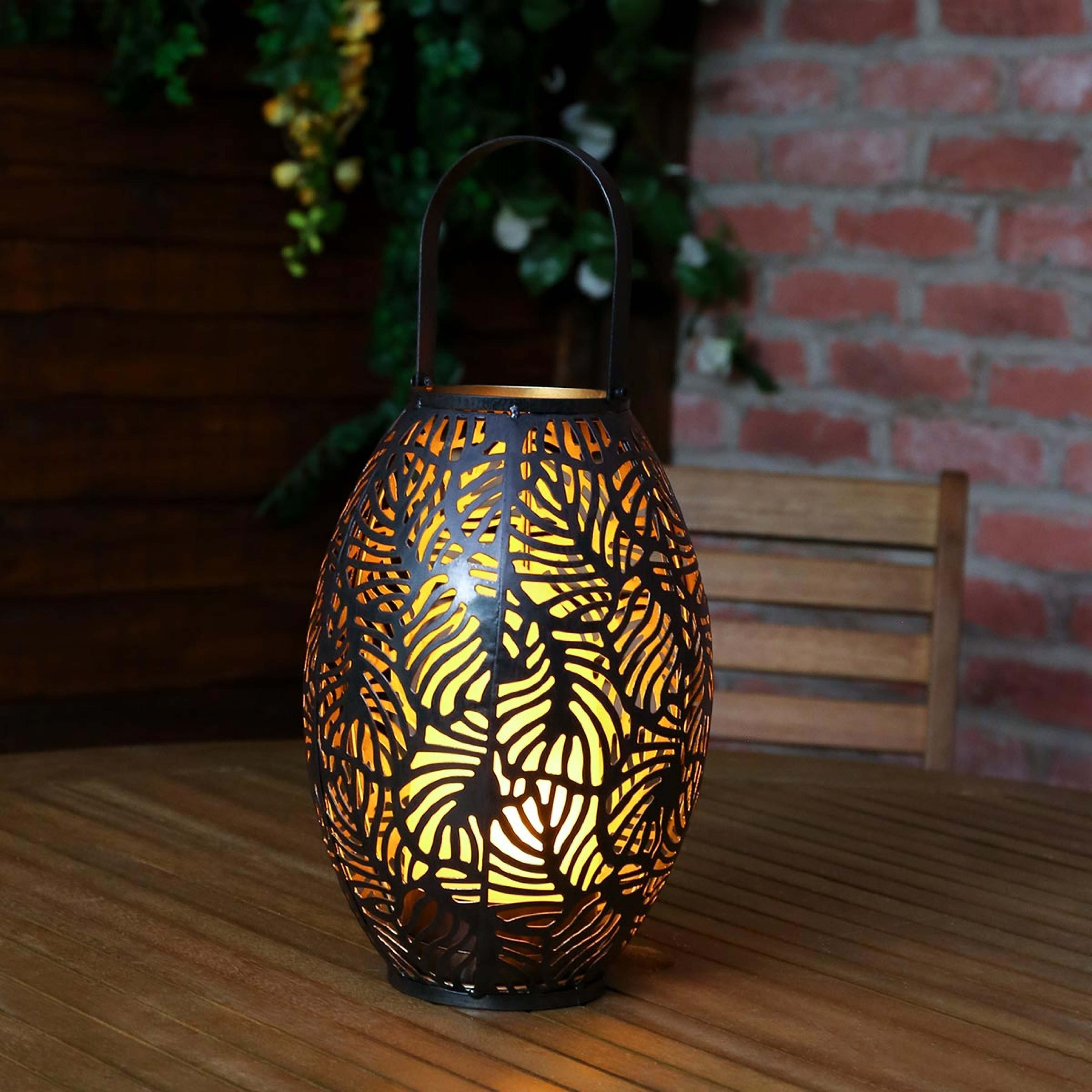 Outdoor Battery Bronze Rustic Cool Flame Lantern Pertaining To Famous Rustic Outdoor Electric Lanterns (View 10 of 20)