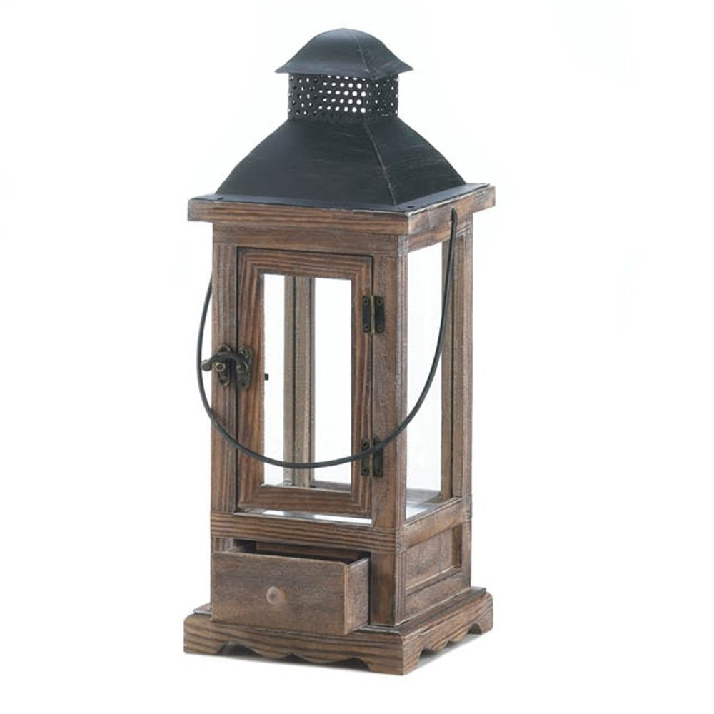 Outdoor Candle Lanterns For Patio Throughout Favorite Wooden Lantern Candle Holder, Rustic Candle Lanterns Outdoor For (View 14 of 20)