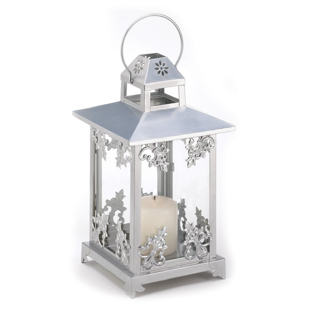 Outdoor Cast Iron Lanterns Within Trendy White Outdoor Candle Lantern, Rustic Antique Scrollwork Candle (View 7 of 20)