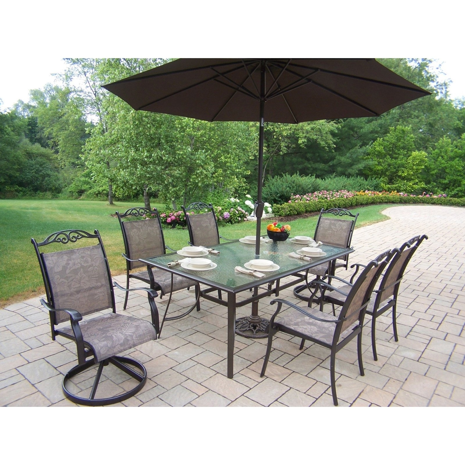 Outdoor Dining Sets With Umbrella Furniture Modern Round Patio Ideas With Regard To Well Liked Patio Table Sets With Umbrellas (View 14 of 20)