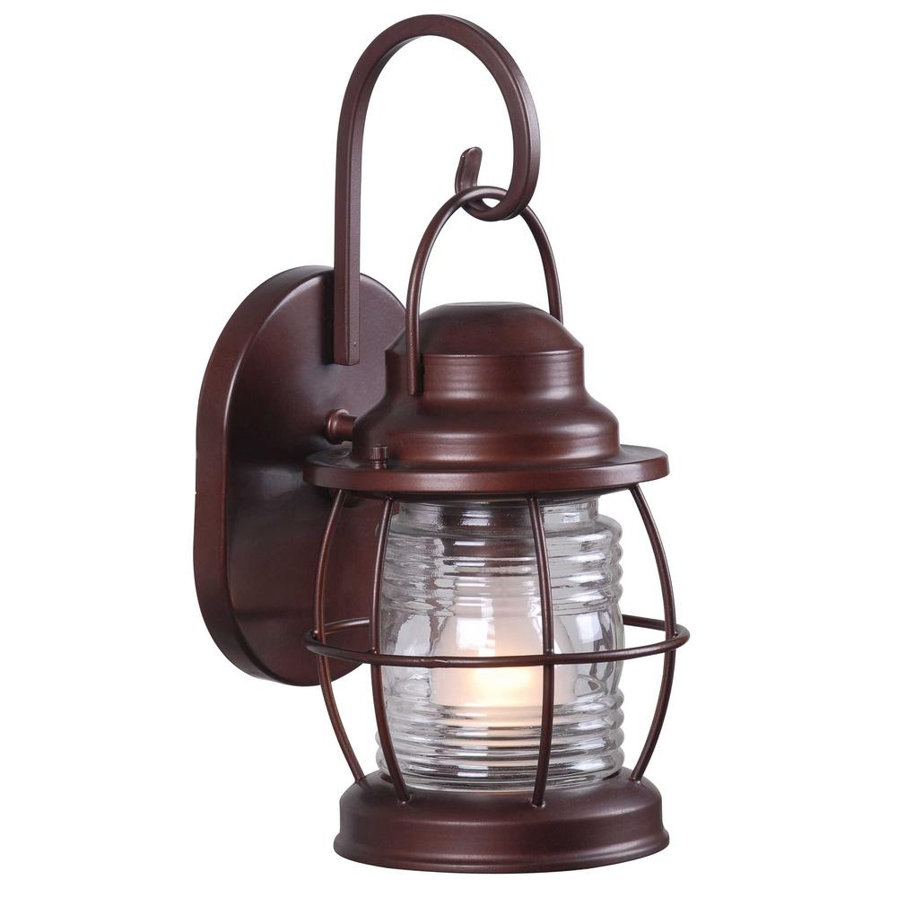 Outdoor Electric Lanterns Throughout Current Home Decorators Collection Harbor 1 Light Copper Outdoor Small Wall (View 15 of 20)