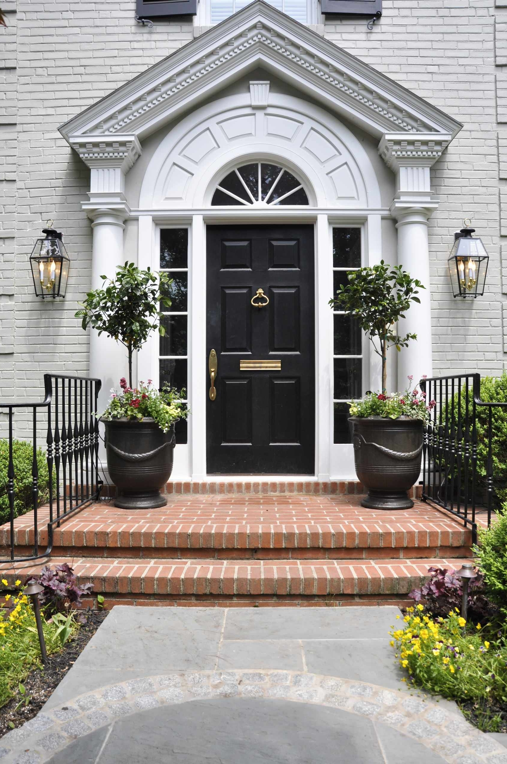 Outdoor Entrance Lanterns Throughout Most Popular Exterior Design: Decorating With Lanterns And Entrance Pots Also (View 10 of 20)