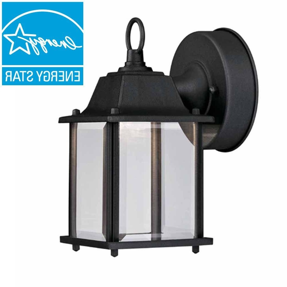 Outdoor Grey Lanterns In Recent Hampton Bay Black Outdoor Led Wall Lantern The Lanterns Sconces (View 12 of 20)