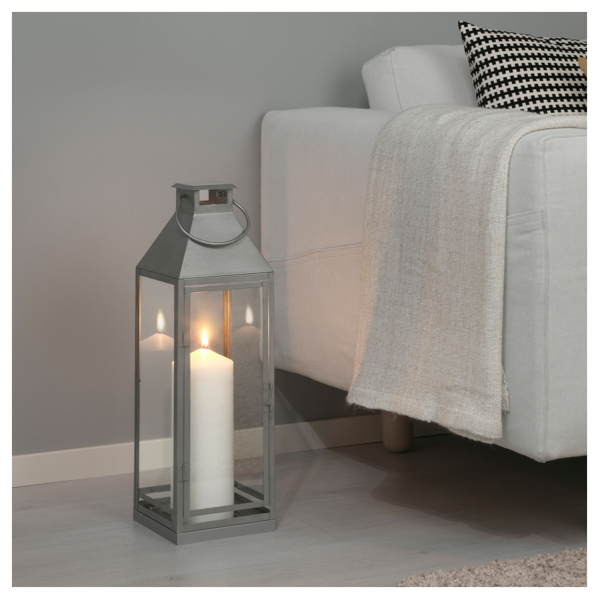 Outdoor Grey Lanterns Intended For Fashionable Ikea Lagrad Lantern F Block Candle, In/outdoor Suitable For Both (View 9 of 20)