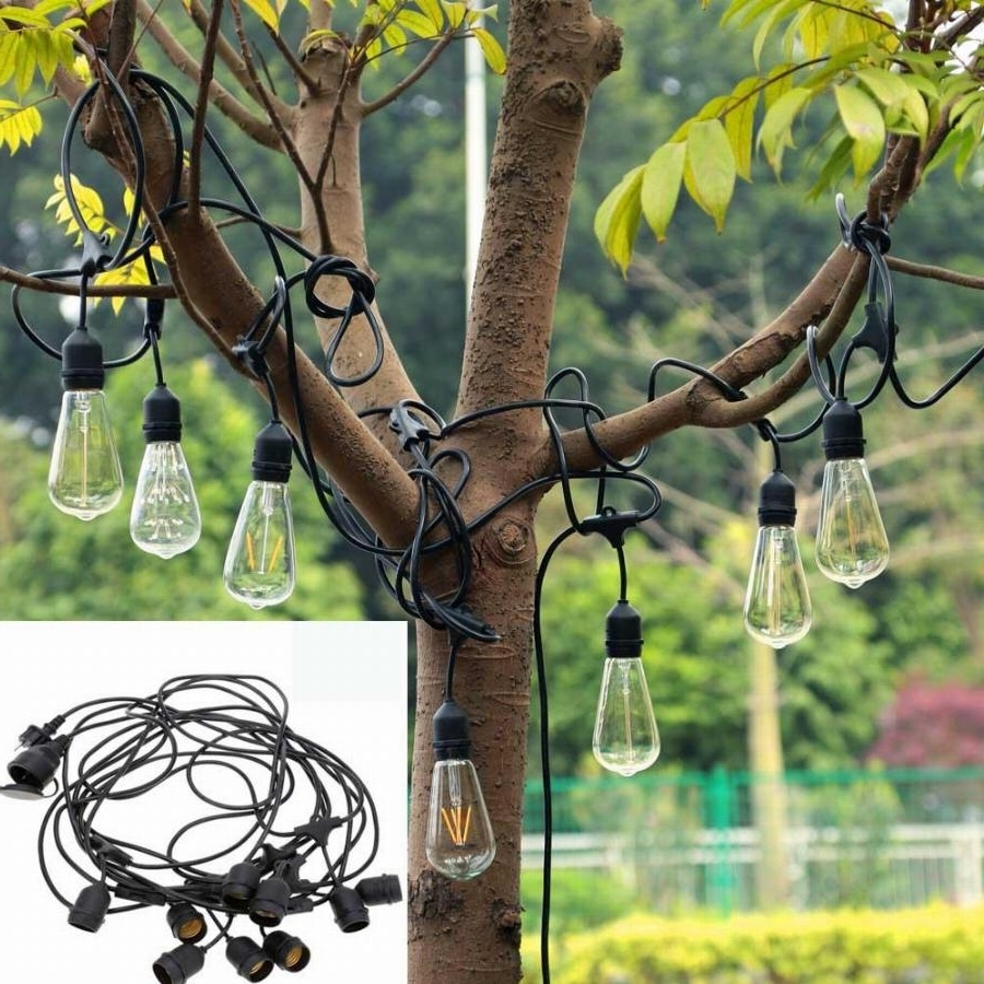 Outdoor Hanging Electric Lanterns Pertaining To Well Liked New 30ft 9led E27 Hanging Sockets Lanterns Outdoor Garden Fairy Led (View 10 of 20)