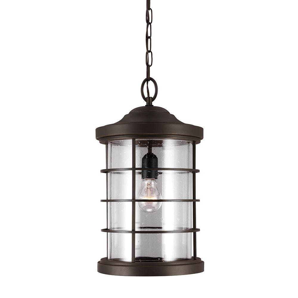 Outdoor Hanging Electric Lanterns Throughout Most Popular Sea Gull Lighting Sauganash 1 Light Outdoor Heirloom Bronze Hanging (View 15 of 20)