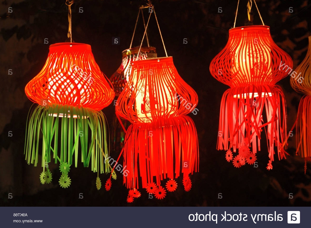 Outdoor Indian Lanterns Within Most Current Diwali Indian Festival Of Lights Christmas Colourful Paper Lamps Red (View 12 of 20)