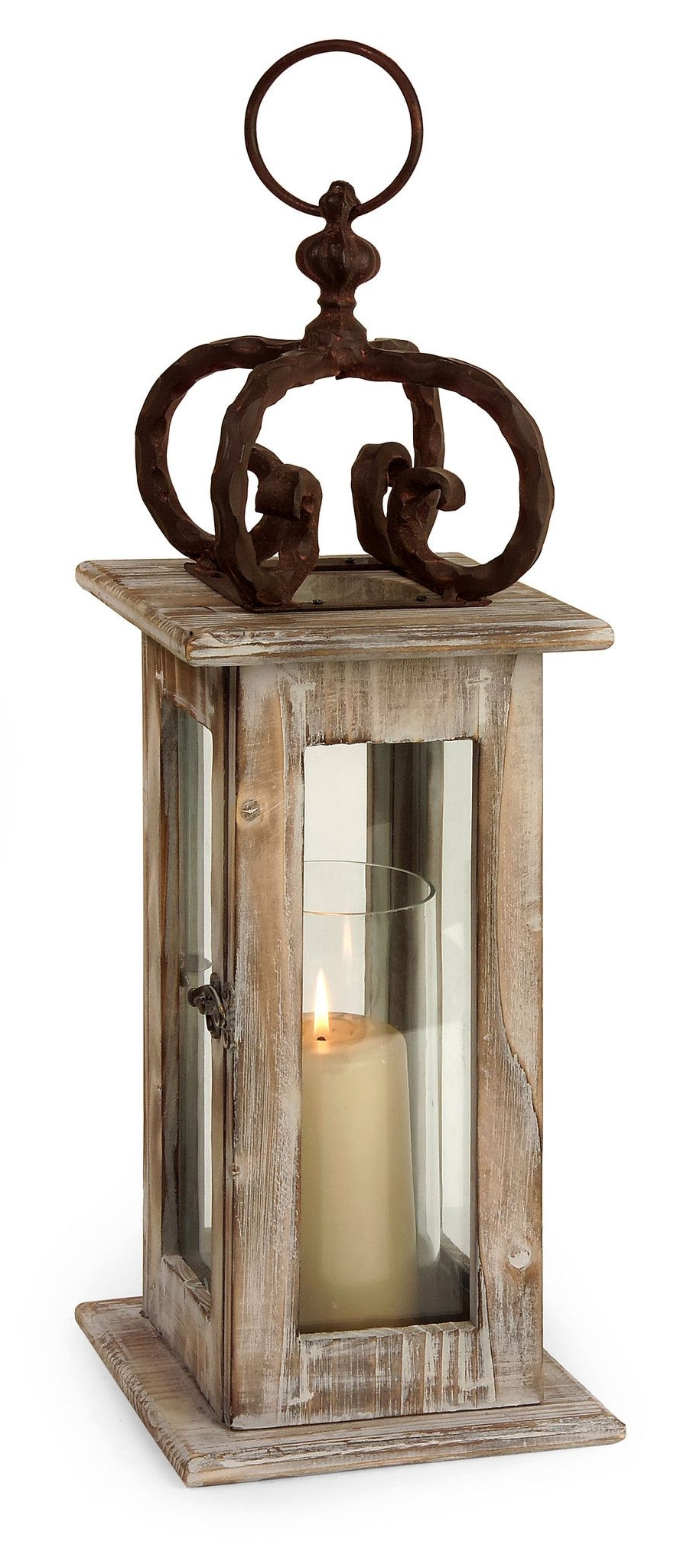 Outdoor Iron Lanterns Pertaining To Most Recent Scandinavian Washed Natural Wood Lantern With Wrought Iron (View 14 of 20)