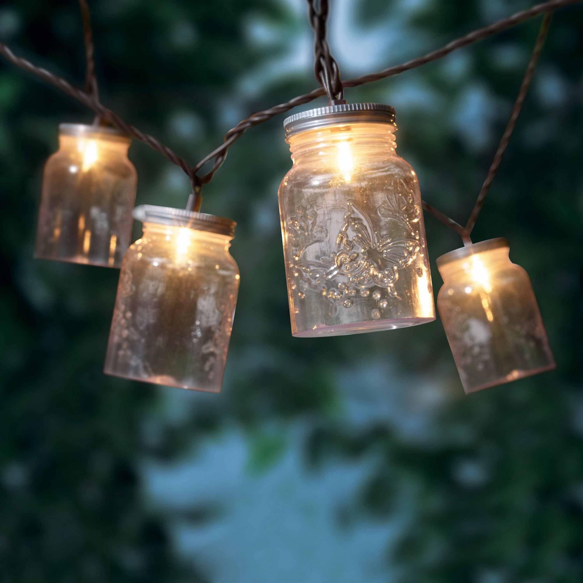 Outdoor Jar Lanterns For Preferred Mainstays Mason Jar Mini String Lights, 10 Count – Walmart (View 6 of 20)