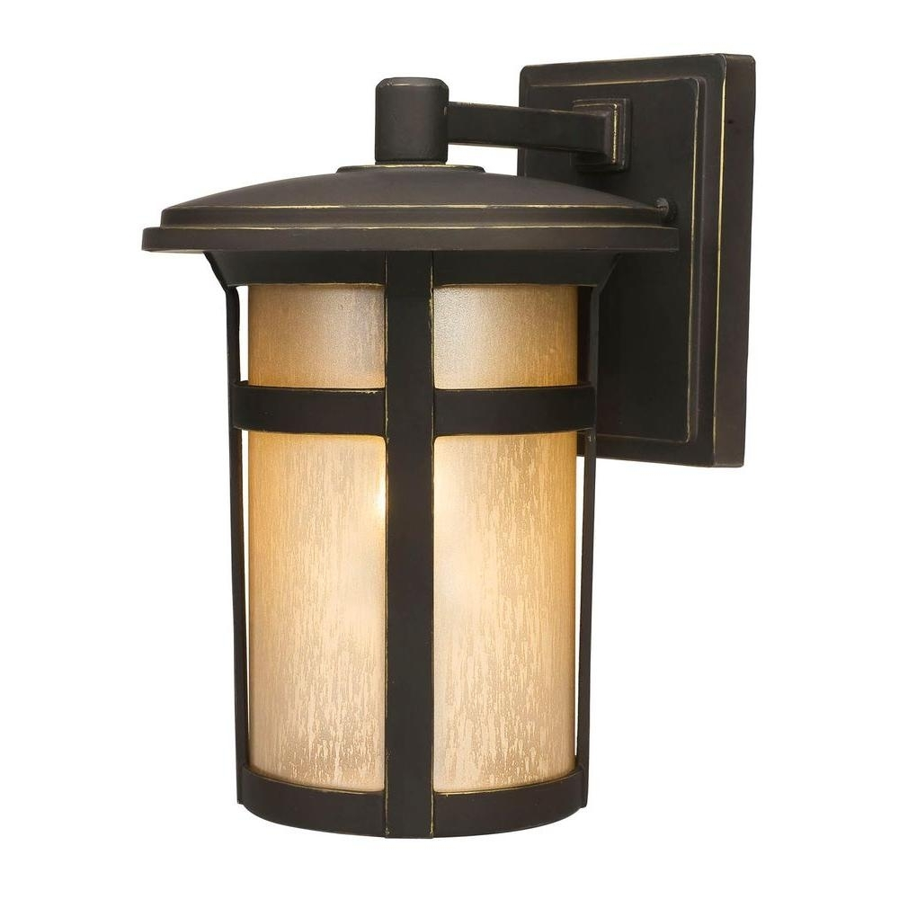 Outdoor Lanterns And Sconces Regarding 2019 Home Decorators Round Craftsman 1 Light Rubbed Bronze Outdoor Wall (View 16 of 20)