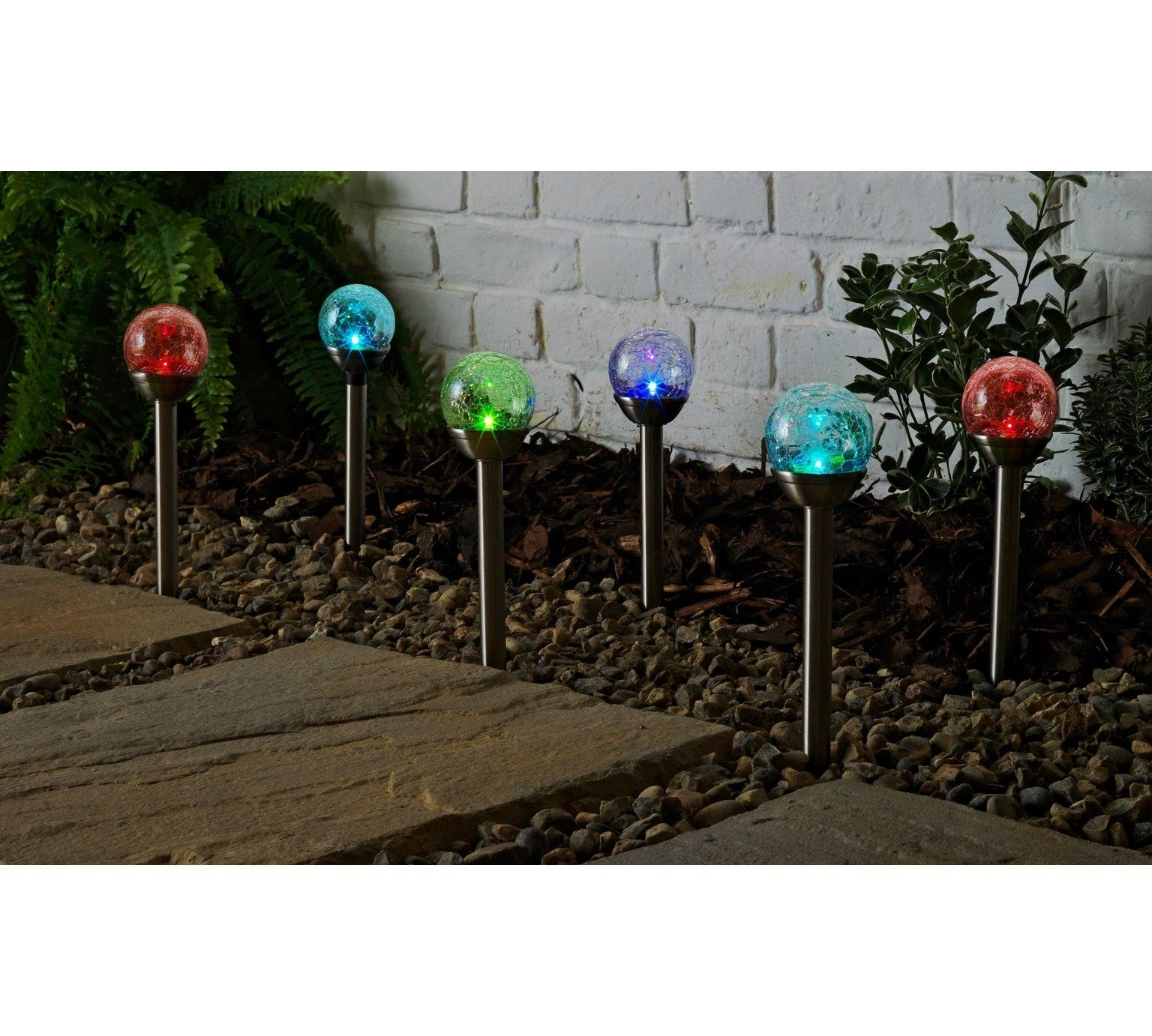 Outdoor Lanterns At Argos With Regard To Most Popular Buy Collection Set Of 6 Crackle Glass Colour Change Solar Lights At (View 14 of 20)