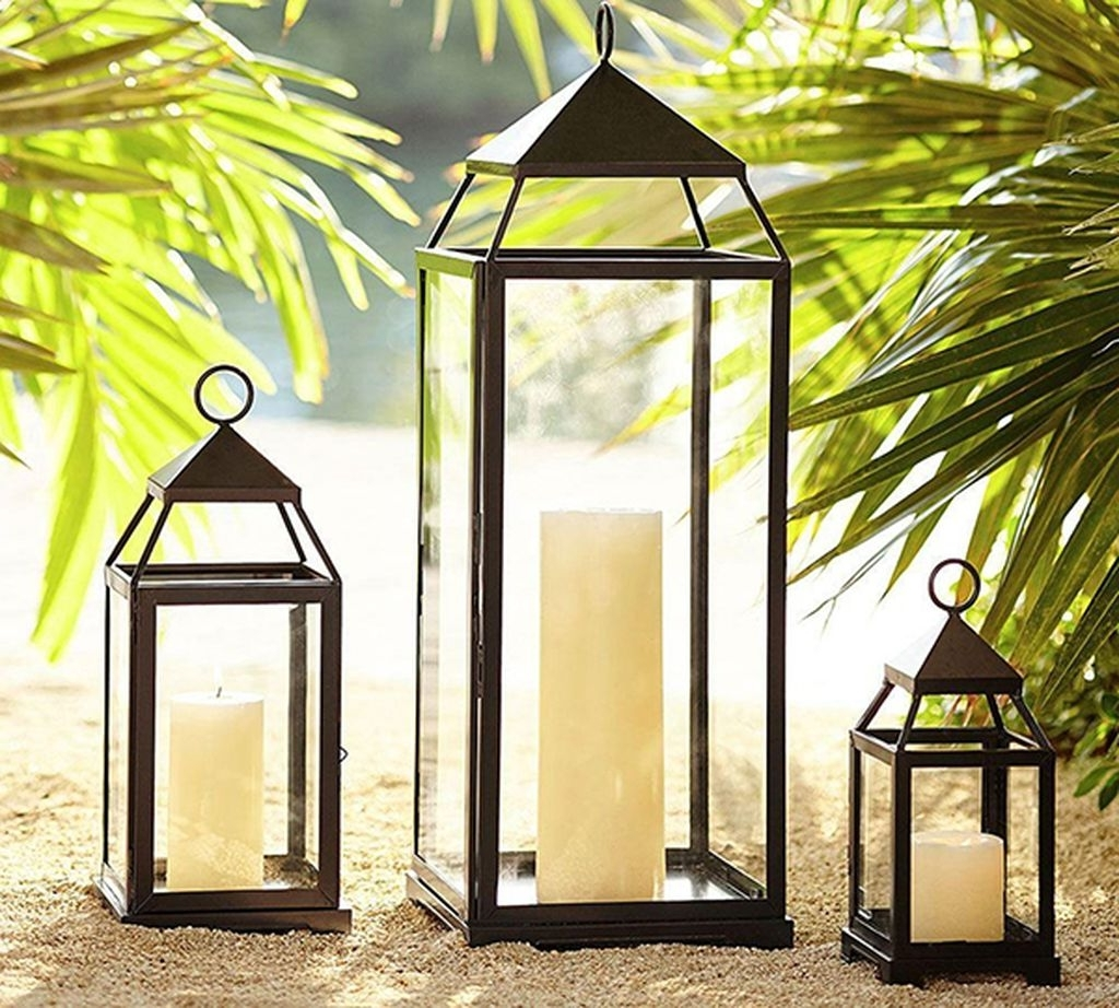 Outdoor Lanterns At Pottery Barn Inside Most Recently Released Get The Look: Julia And Sasha's Tropical Outdoor Entertaining Space (View 13 of 20)
