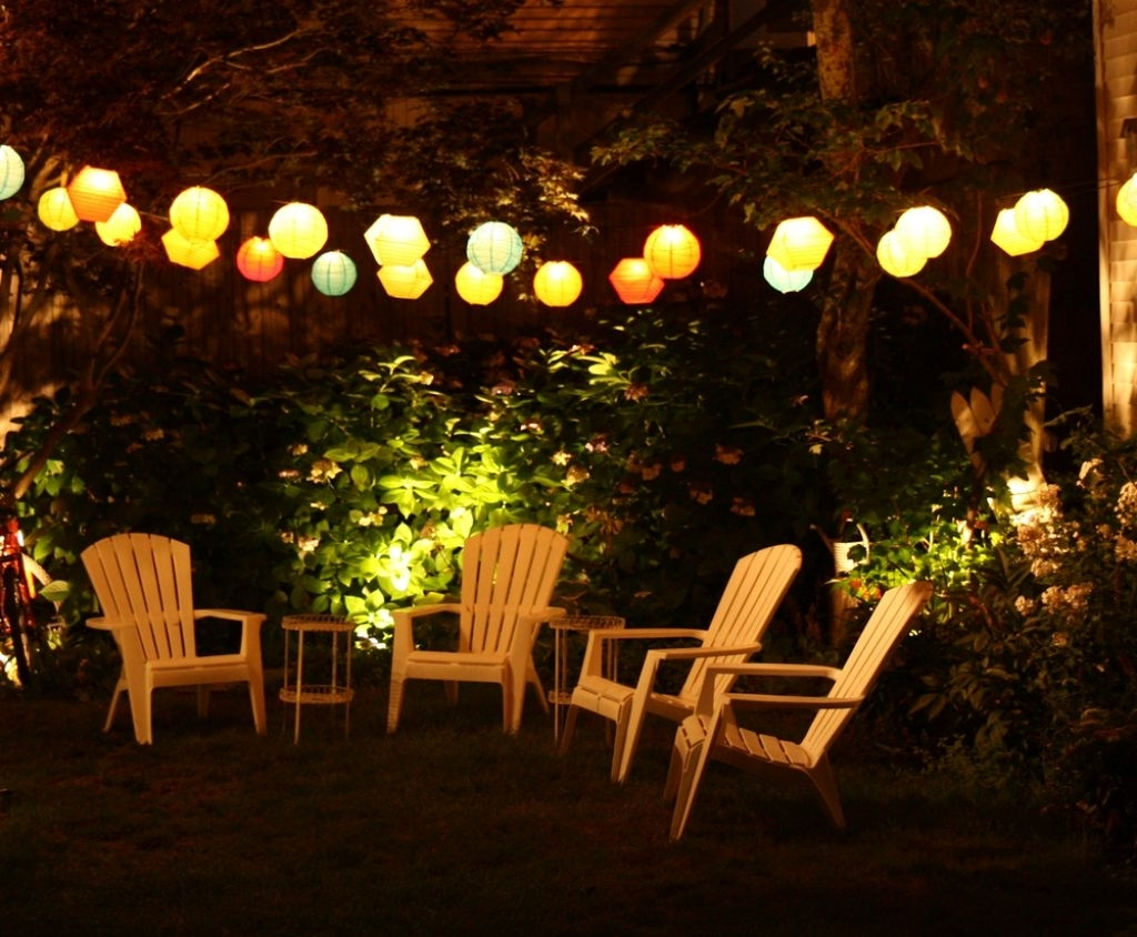 Outdoor Lanterns For Patio Throughout Famous Outdoor Lamp For Patio With Teak Small Table And Colorful Lamps (View 12 of 20)