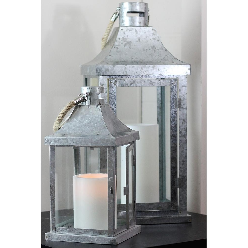 Outdoor Lanterns For Pillars With Latest Northlight Industrial Flecked Metal And Glass Pillar Candle Lanterns (View 13 of 20)