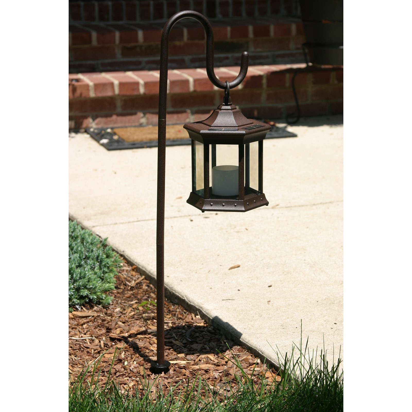 Outdoor Lanterns On Stands For Famous Solar Lantern With Shepherd's Hook – Walmart (View 12 of 20)