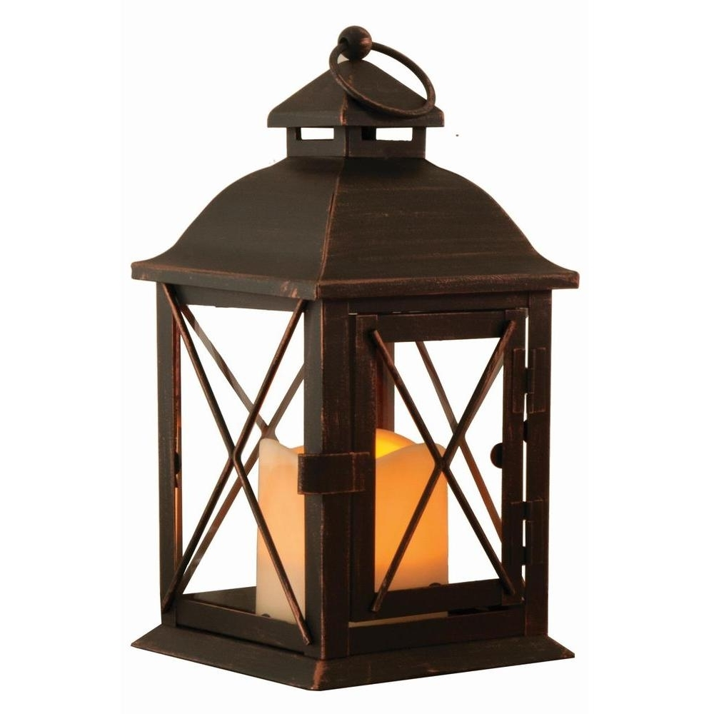 Outdoor Lanterns With Battery Operated Candles Intended For 2018 Smart Design Aversa 10 In. Antique Brown Led Lantern With Timer (Gallery 5 of 20)