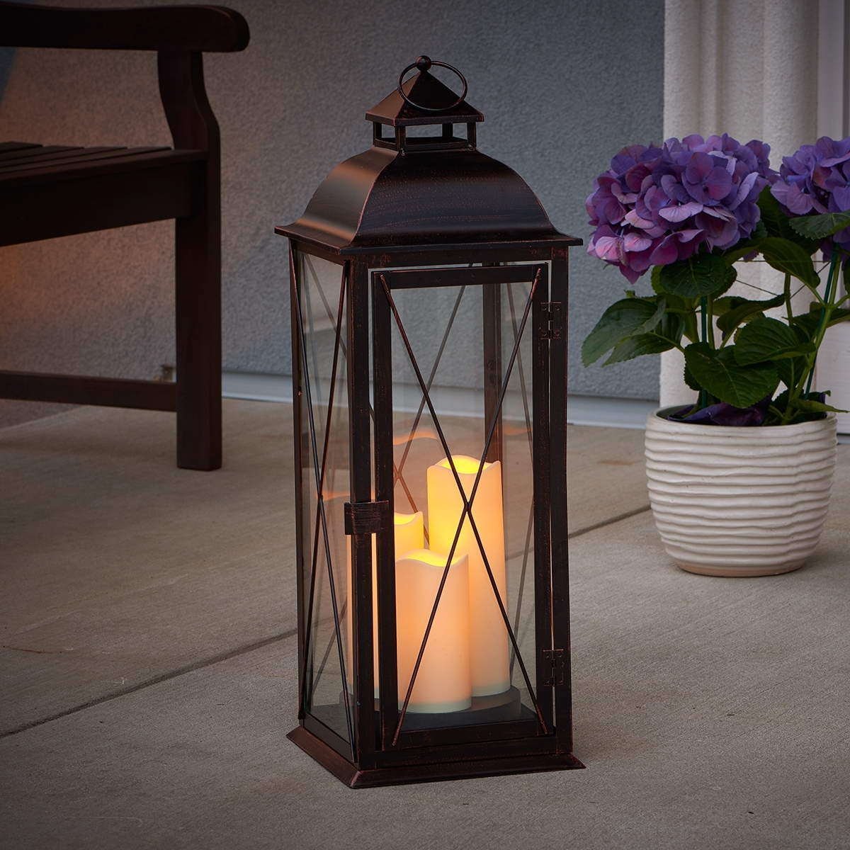 Outdoor Lanterns With Flameless Candles In Current Salerno Triple Led Candle Lantern (View 13 of 20)