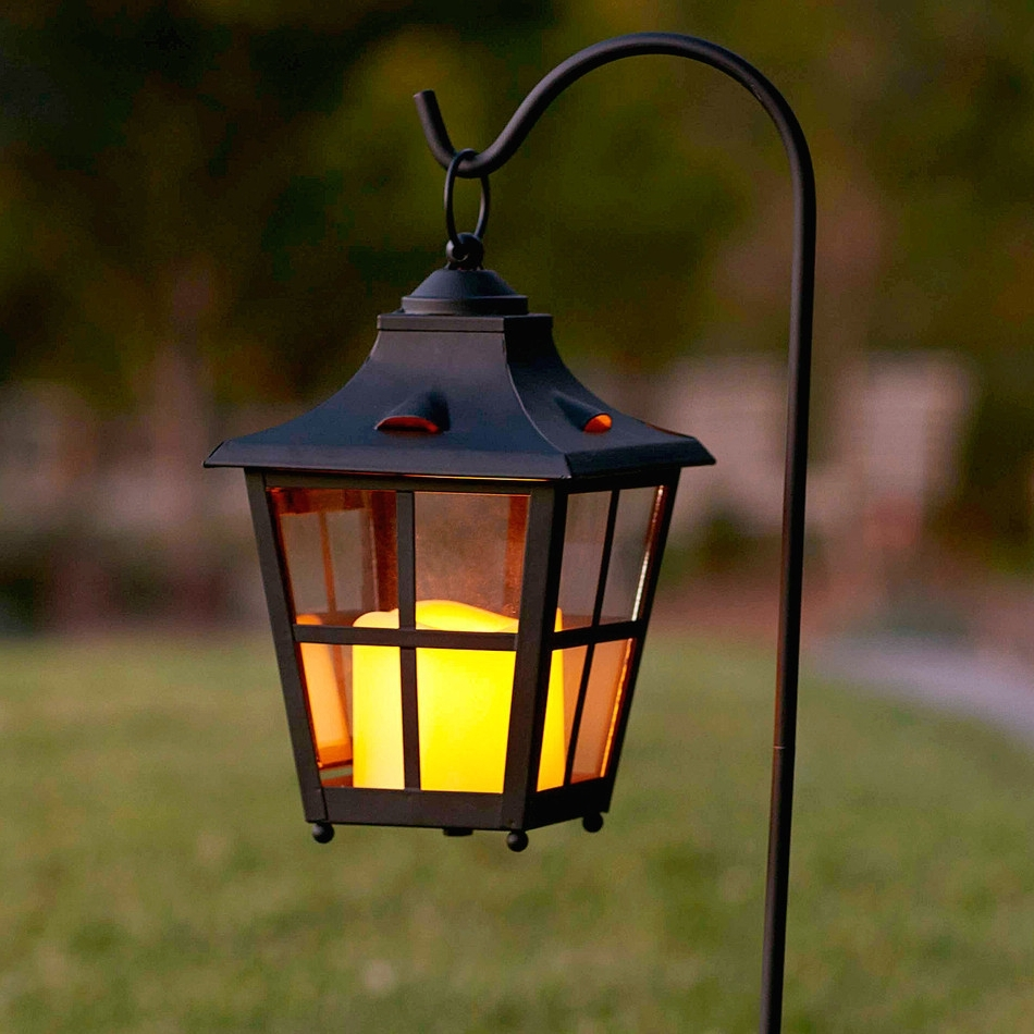 Outdoor Lanterns With Led Candles Regarding Widely Used 50 Patio Lantern, Genoa Antique Black Silver Hanging Garden Lantern (View 18 of 20)