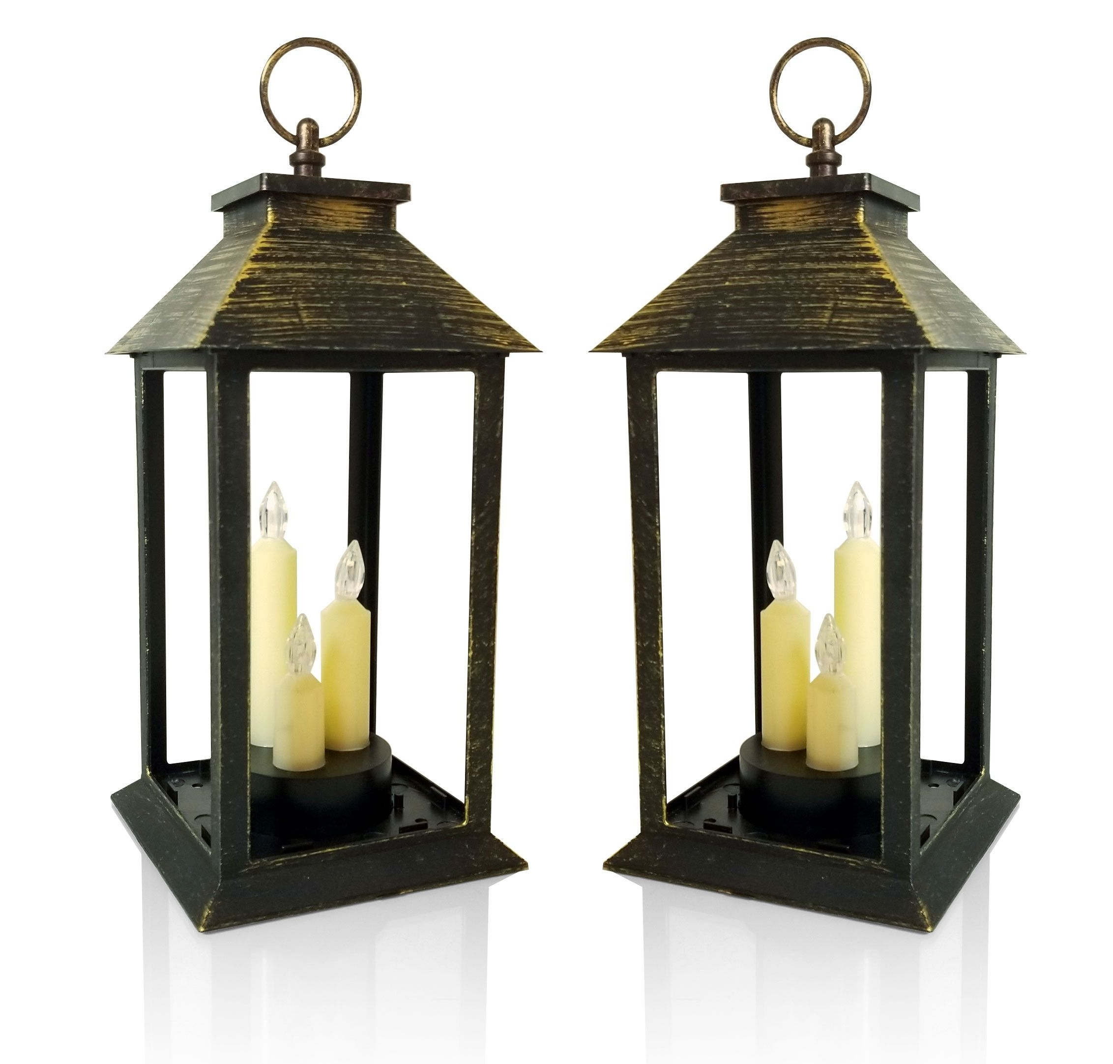 Outdoor Lanterns With Led Candles Throughout Latest Candle Lanterns – Set Of Antique Gold Lanterns With 3 Led Taper (View 12 of 20)