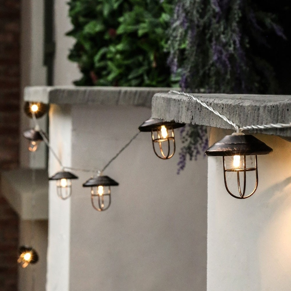 Outdoor Lanterns With Led Lights For Well Known Outdoor Metal Battery Lantern Lights, 10 Warm White Led's (View 10 of 20)