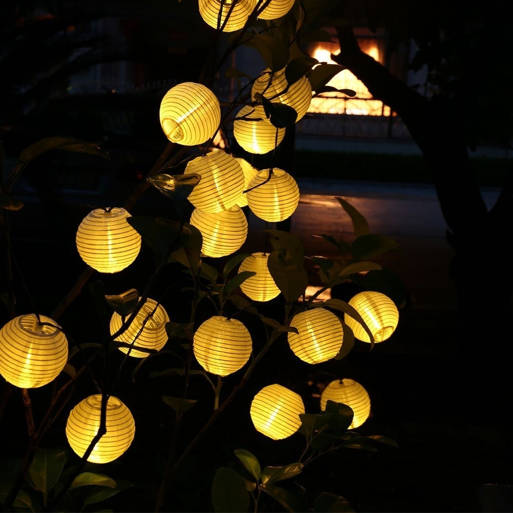 Outdoor Lanterns With Led Lights In Latest Updated 30Led 20Ft Solar Led Light Outdoor Lantern Ball String (View 11 of 20)