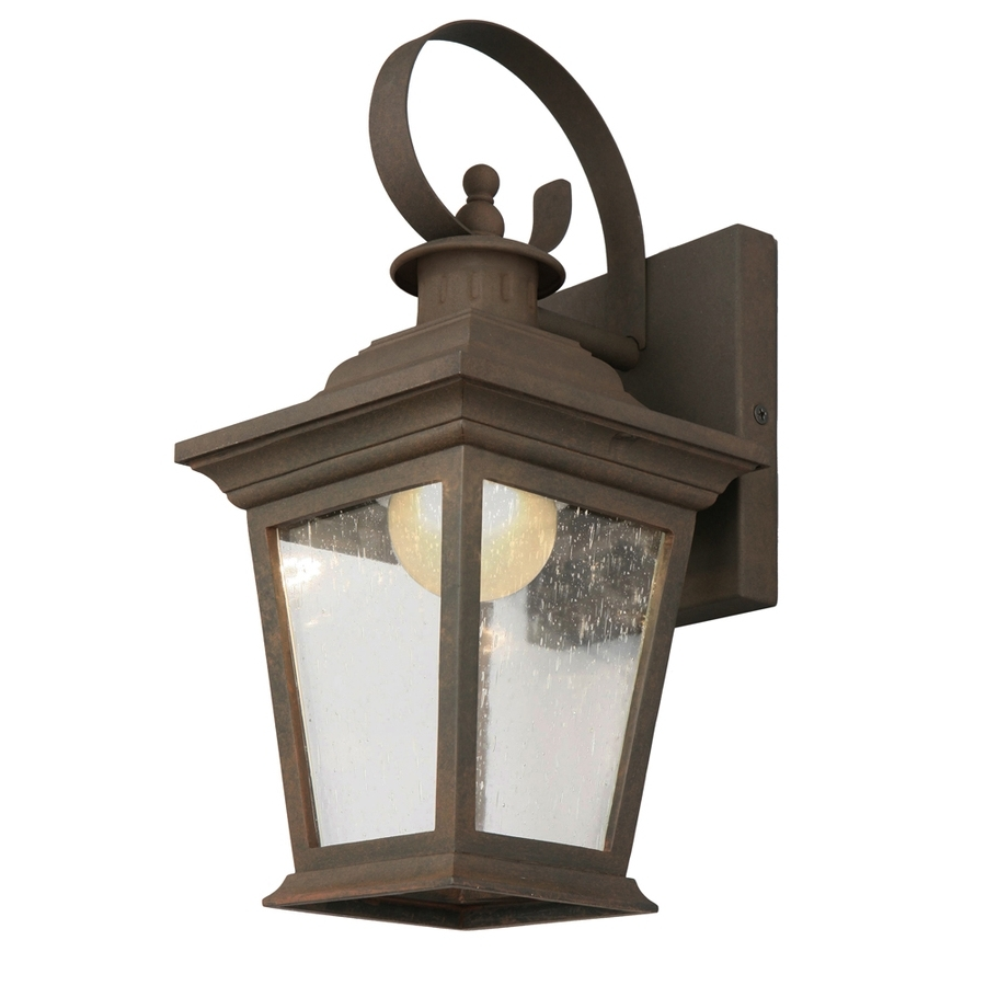 Outdoor Lanterns With Led Lights In Well Known Shop Portfolio 13 In H Rust Dark Sky Led Outdoor Wall Light Energy (View 6 of 20)